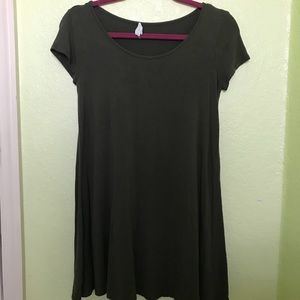Olive Green Fitted T-Shirt Dress